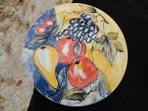 Pier-1-Grapes-Pear-Apples-Cherries-Yellow-amp-Blue-Dinner-Plate
