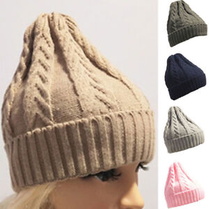 7584fb64c77 Mens Women Baggy Warm Crochet Winter Wool Knit Ski Beanie Skull ...