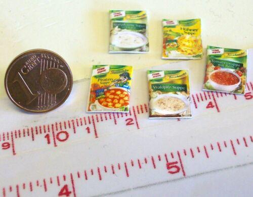 6007# 5 pochettes soupe ou de Vente écran avec 15 pièces-Maison de Poupée-M 1zu12