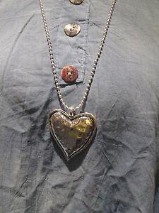 Lagenlook-Long-Large-solid-heart-Necklace-antique-silver-colour
