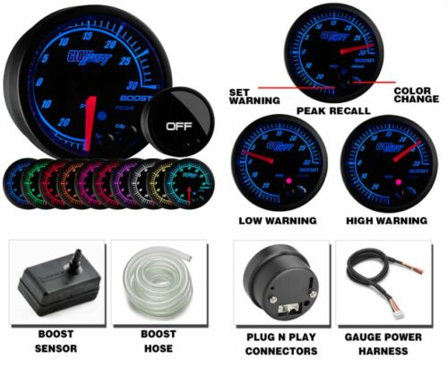 GlowShift Elite Ten Color 30 PSI Electronic Boost//Vacuum Gauge GS-ET01