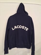 Lacoste 🐊 Mens Jacket Pullover SZ. 5 Full zip Hooded Embroided Back Navy EUC