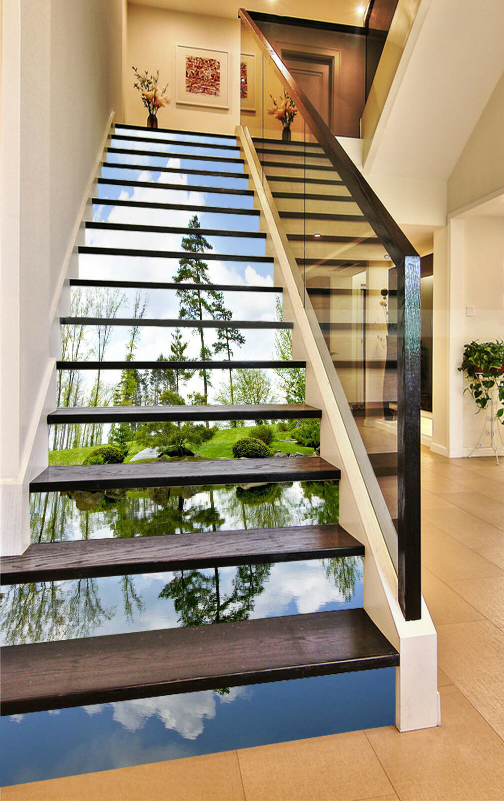 3D Wald See 432 Stair Risers Dekoration Fototapete Vinyl Aufkleber Tapete DE