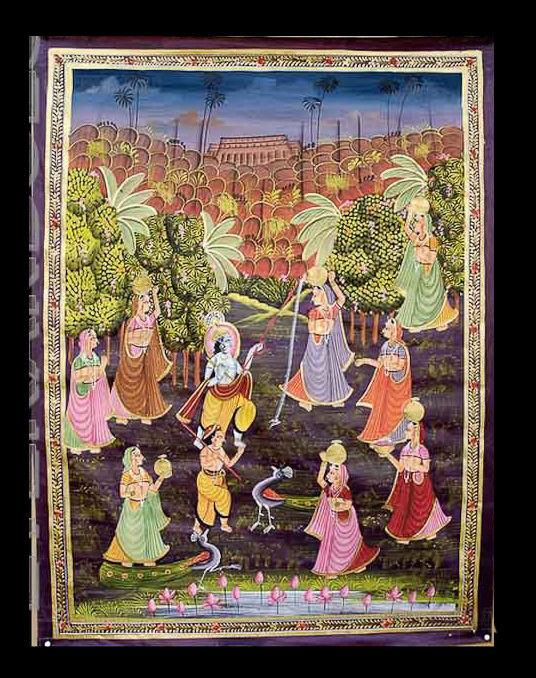 Wandbehang Seidenmalerei Kunst Mughal -szene vie Indien 90x66cm D6 1603