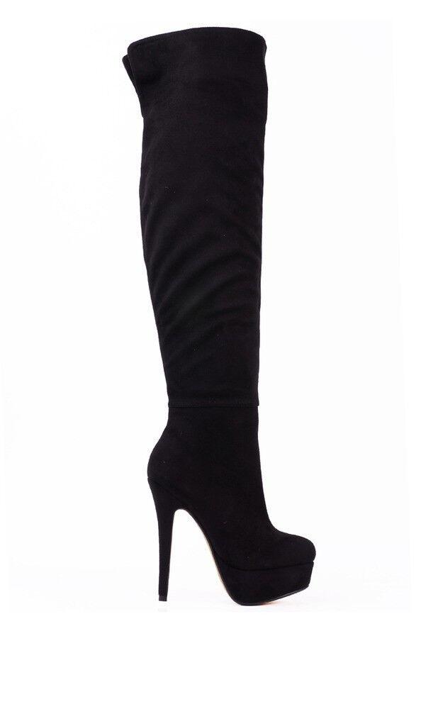 De louvre suede black boot size 9 40M  high heels heel high top women crystals