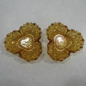 Pair-Vintage-Amber-Pressed-Glass-Trinket-Dish-Nut-Candy-Bowl