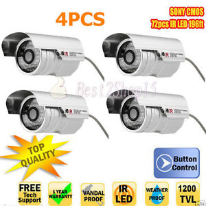 4pcs 1200TVL White Bullet Camera CCTV Security IR-CUT Outdoor/Indoor 36 LED 6mm