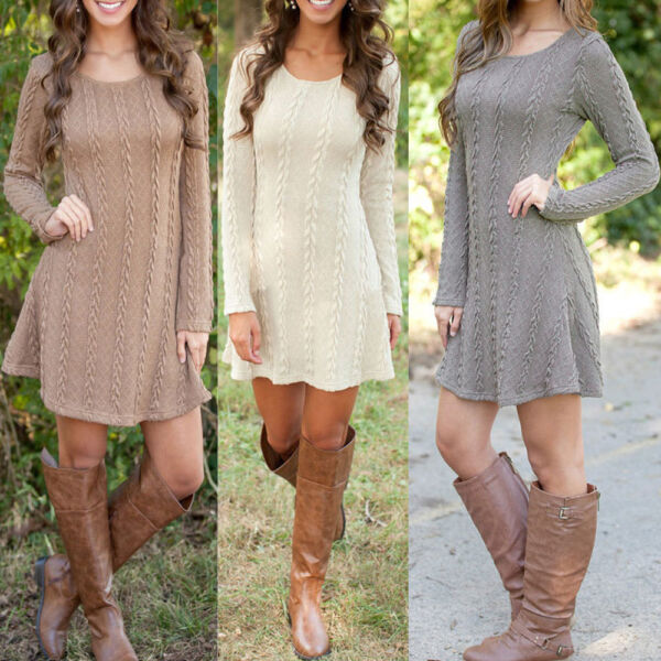 f1880e9afe9 Stylish Women Long Sleeve A-line Cable Knitted Jumper Tunic Sweater Dress  S-XL