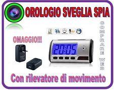 SVEGLIA OROLOGIO SPIA +MICRO SD 4 GB  CIMICE SPY CAM CON RILEVATORE DI MOVIMENTO