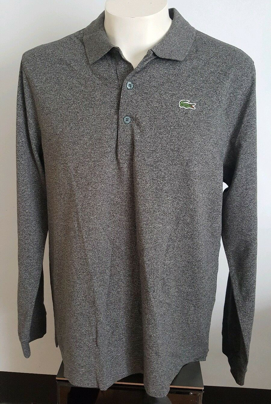 LACOSTE Sport Slim Fit Polo Camicia a Maniche Lunghe Top Taglia 7 UK XL RRP
