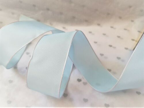 Luxury Wire Ribbon LAST STOCK BABY BLUE taffetta with pink /& blue edge detail
