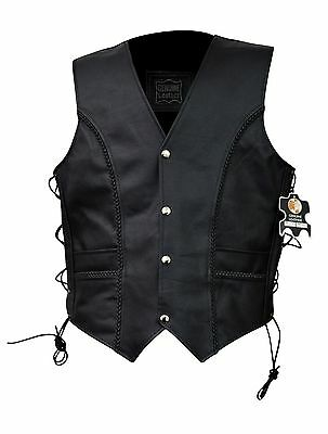 Men's Leather Braided Side Laces Biker Motorcycle Vest Brand New All Sizes