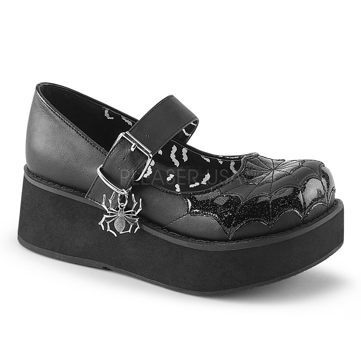 Demonia 2.25  Black Vegan Platform Maryjane Spider Web Charm shoes Goth 6-12