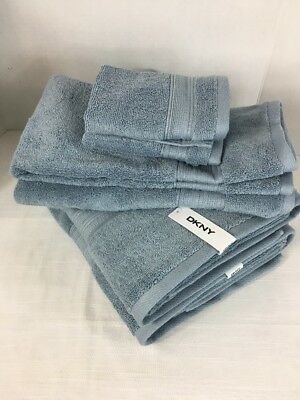 Dkny Bathroom Towel Set Six Piece Steel Blue 100 Cotton Bath Hand Face Cloth Ebay
