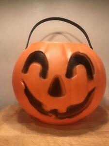 Vintage-Halloween-Plastic-Blow-Mold-Pumpkin-Jack-O-Lantern-Bucket-Pail-Unmarked