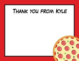 30 Personalized Birthday Thank You Cards Pizza Party Thank You Cards