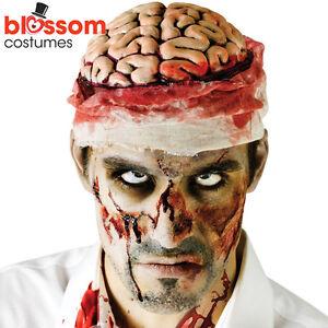 AC122-Bloody-Bandage-Brain-Hat-Head-Topper-Zombie-Halloween-Horror-Accessory