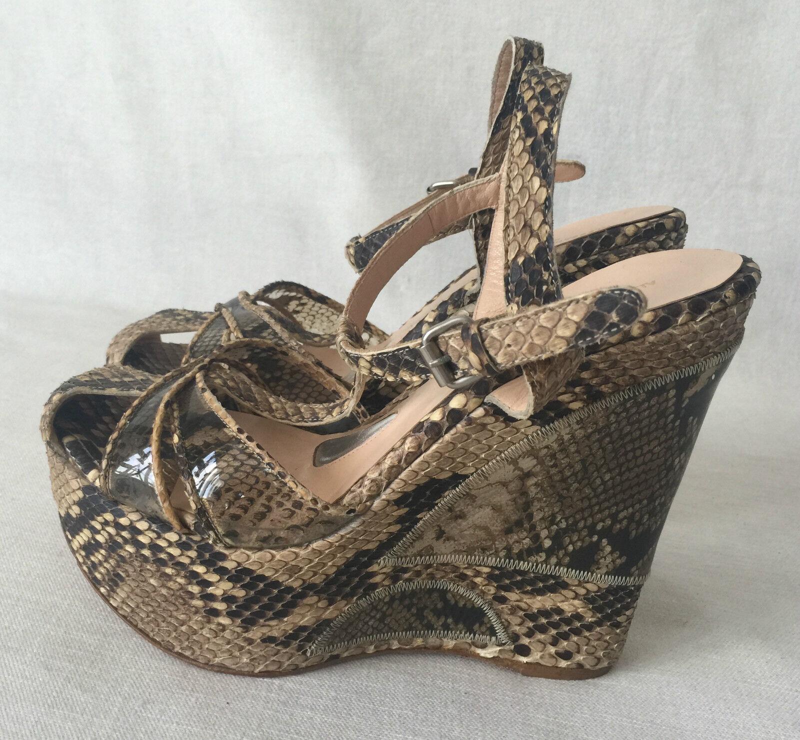 100% nuovo di zecca con qualità originale Alessandro Dell´acqua Snakeskin Snakeskin Snakeskin Artwork Wedge Unique Sandals. Dimensione 40. 9  forma unica