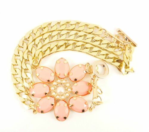 Gold White Pink Pearl Floral Daisy Flower Fashion Jewellery Bracelet
