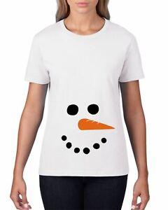 a88ab573b7de9 Image is loading Snowman-Face-Maternity-T-Shirt-Women-Pregnancy-Pregnant-