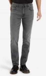 secondi Da Uomo Ex WRANGLER GREENSBORO Jeans Stretch Straight Fit GUN SMOKE WA152