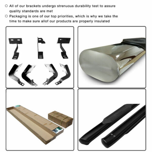 Fits 04-08 Ford F150 Super Cab 4 Inch Black Oval Curved Side Step Running Boards