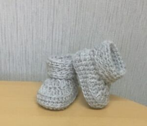HANDMADE CROCHET BABY FIRST SHOES BOOTIES WOOL CASUAL BOOTS TRAINERS SLIPPERS