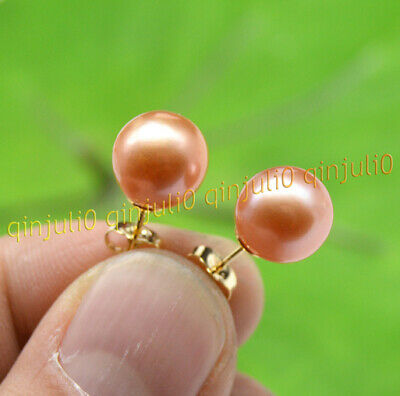 new 10X9 MM AAA PINK south sea pearl earrings 14K  GOLD