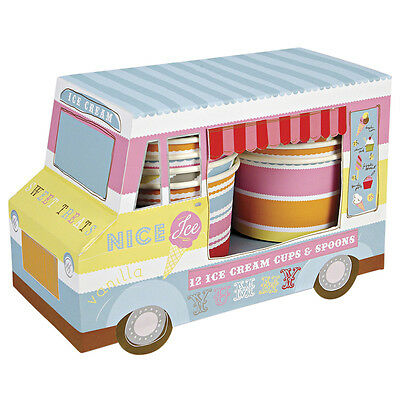 Meri Meri 12x Ice Cream Cups Tubs & Spoons in a Van - Childrens Birthday Party