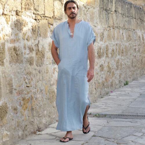 Men Ethnic Robes Long Sleeve Islamic Muslim Middle East Maxi Dress Kaftan Nice