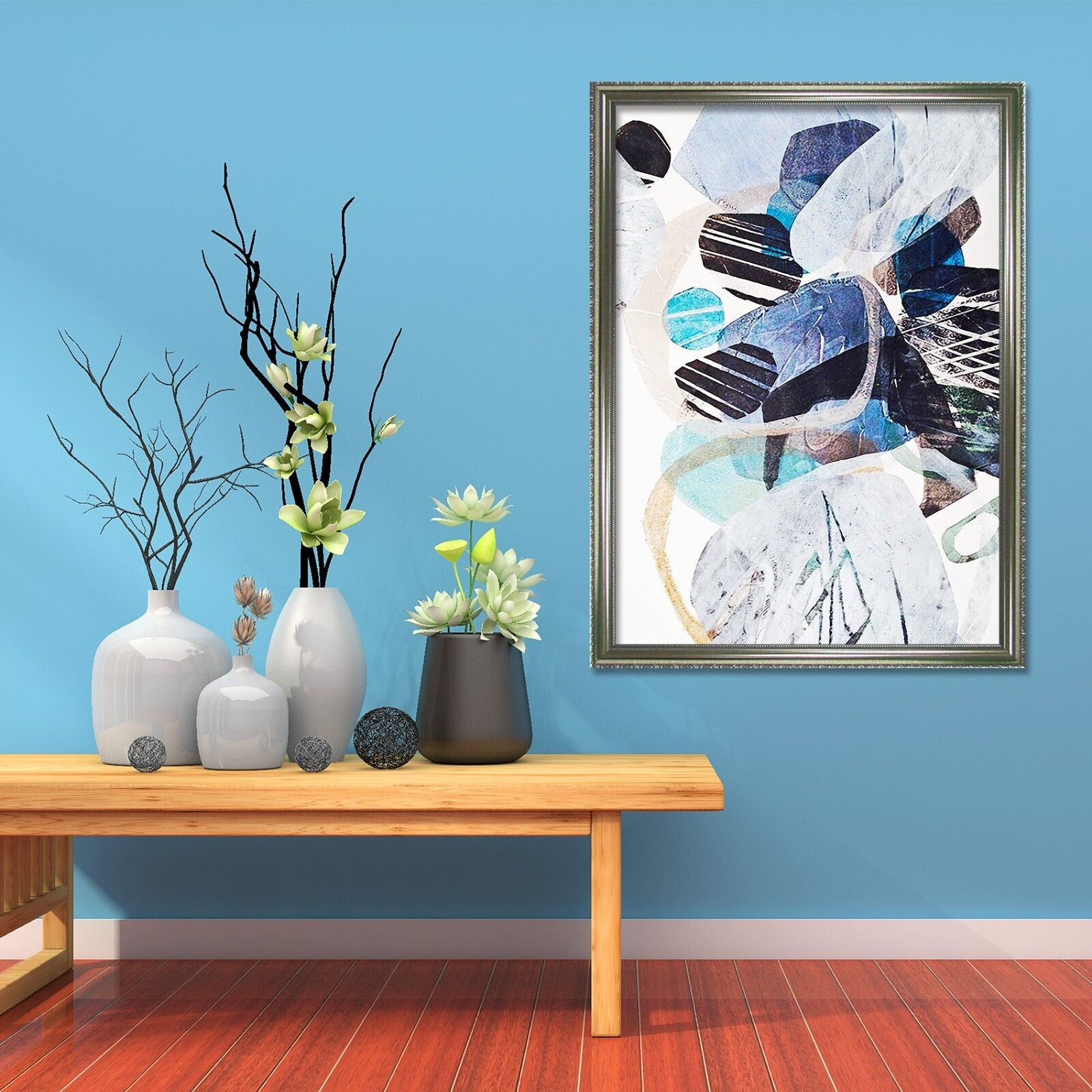3D bluee Picture 69 Framed Poster Home Decor Print Painting Art AJ UK