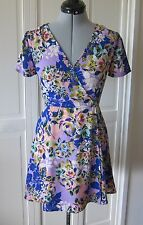 CHARLES HENRY NORDSTROM WRAP FRONT, CROSS YOUR HEART, FLORAL POLY. DRESS -  XS