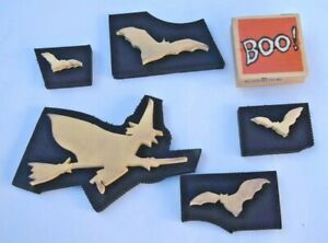 Lot-of-6-Halloween-Rubber-Stamps-Witch-Bats