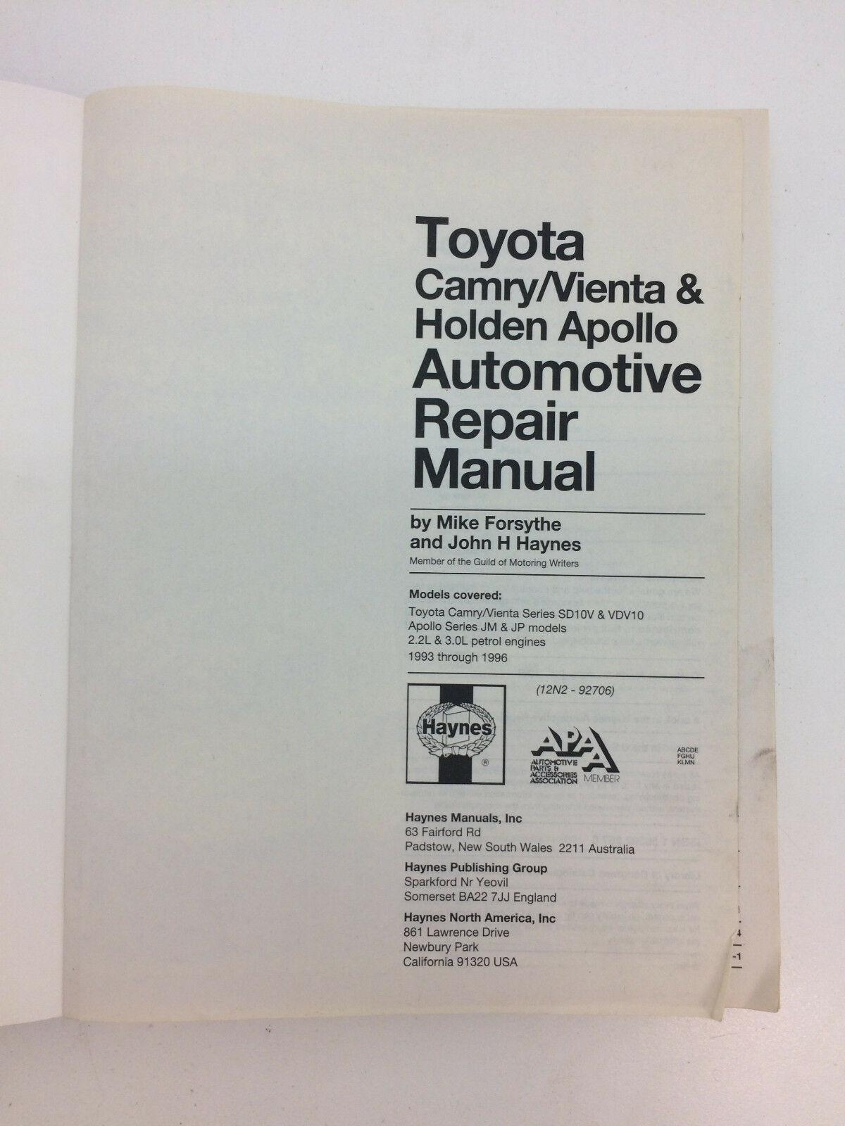 Toyota Camry/Vienta and Holden Apollo Australian Automotive Repair Manual:  1993 to 1996 by Mike Forsythe, J. H. Haynes (Paperback, 2000) | eBay