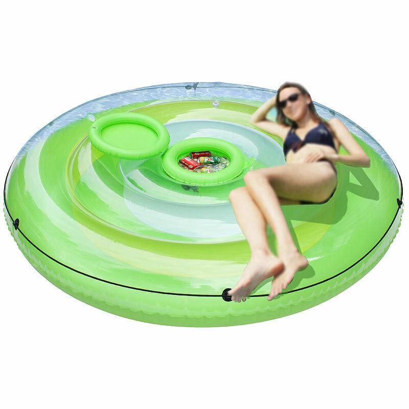Schwimminsel  Aufblasbare XXL-Badeinsel mit abnehmbarem Getränkekühler