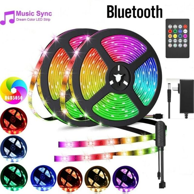 32ft LED 5050 Strip Lights Bluetooth Music Sync RGB Color Changing with Remote