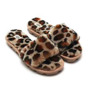 UGG-Cozette-Soft-Fluff-Slide-Open-Toe-Slippers-Women-039-s-Shoes-Sandal-Leopard