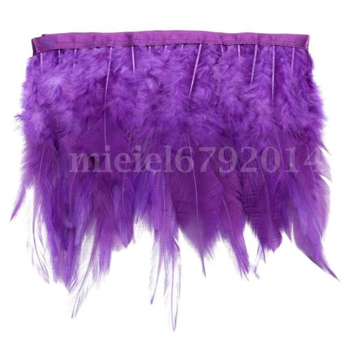 1m Rooster Hackle Feather Fringe Trim Sewing Costume Millinery Craft Cloth Decor