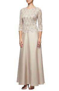 Alex-Evenings-161460-Women-039-s-Long-A-Line-Dress-3-4-Sleeve-Petite-Taupe-Sz-6P