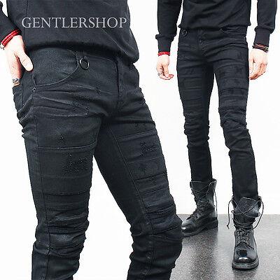 Mens Fashion Vintage Scratch Distressed Coated Black Skinny Jeans, GENTLER SHOP