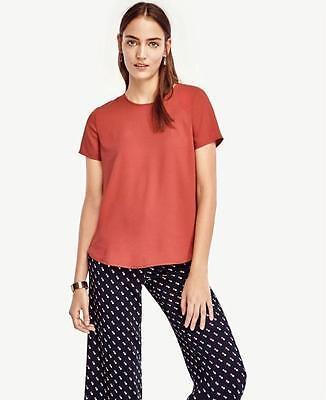 NWT Ann Taylor Fluid Short Sleeve Tee Blouse  $69.50   Pink  NEW