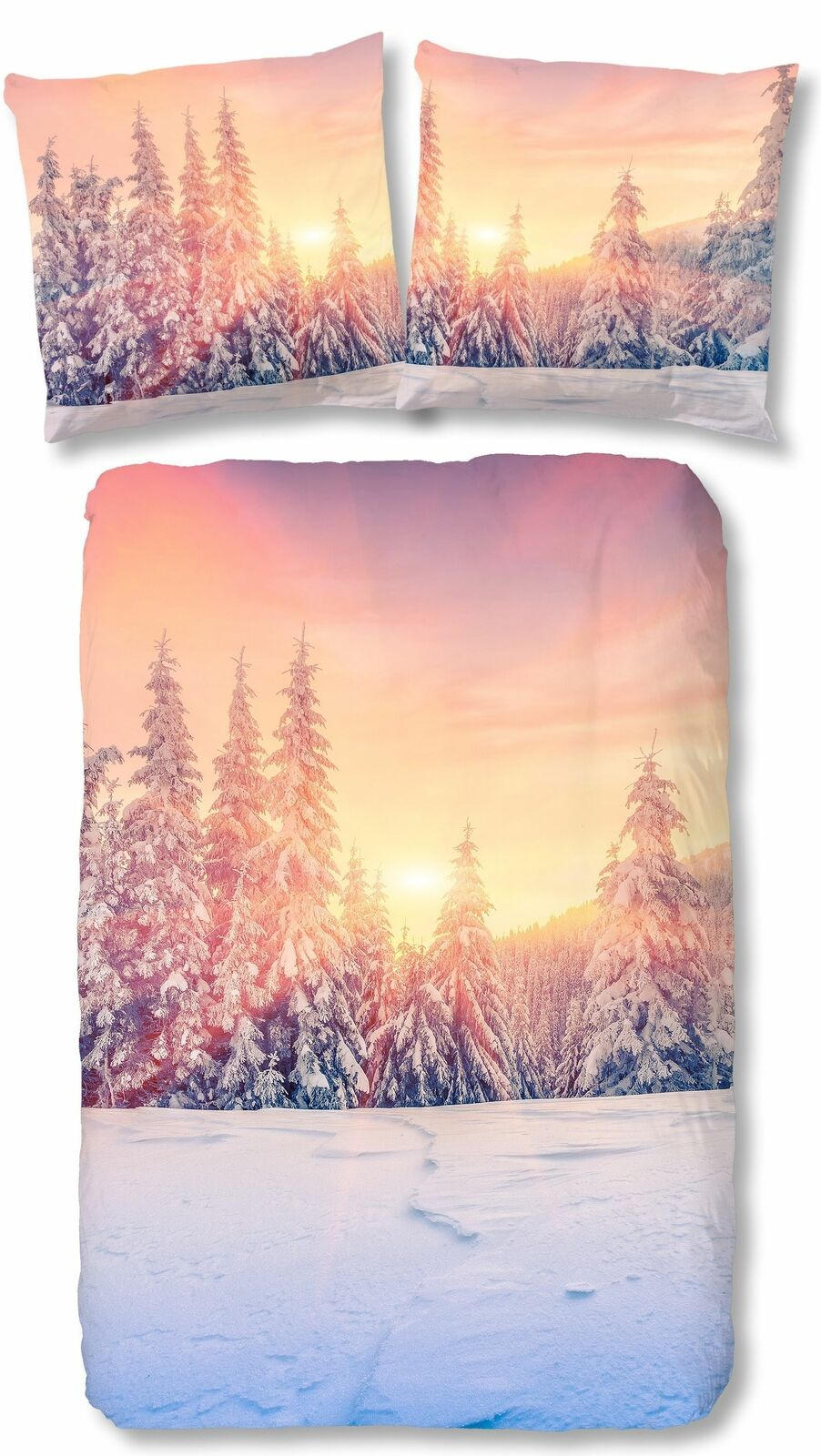4 tlg Bettwäsche 135x200 cm Sonnenuntergang Schneelandschaft weiß Baumwolle Set