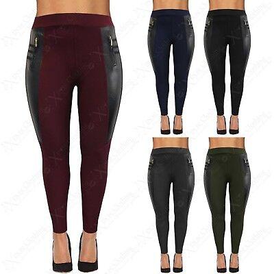 Womens Plus Big Size Jeggings Stretch Ladies Leggings Leather Look Insert 16-26