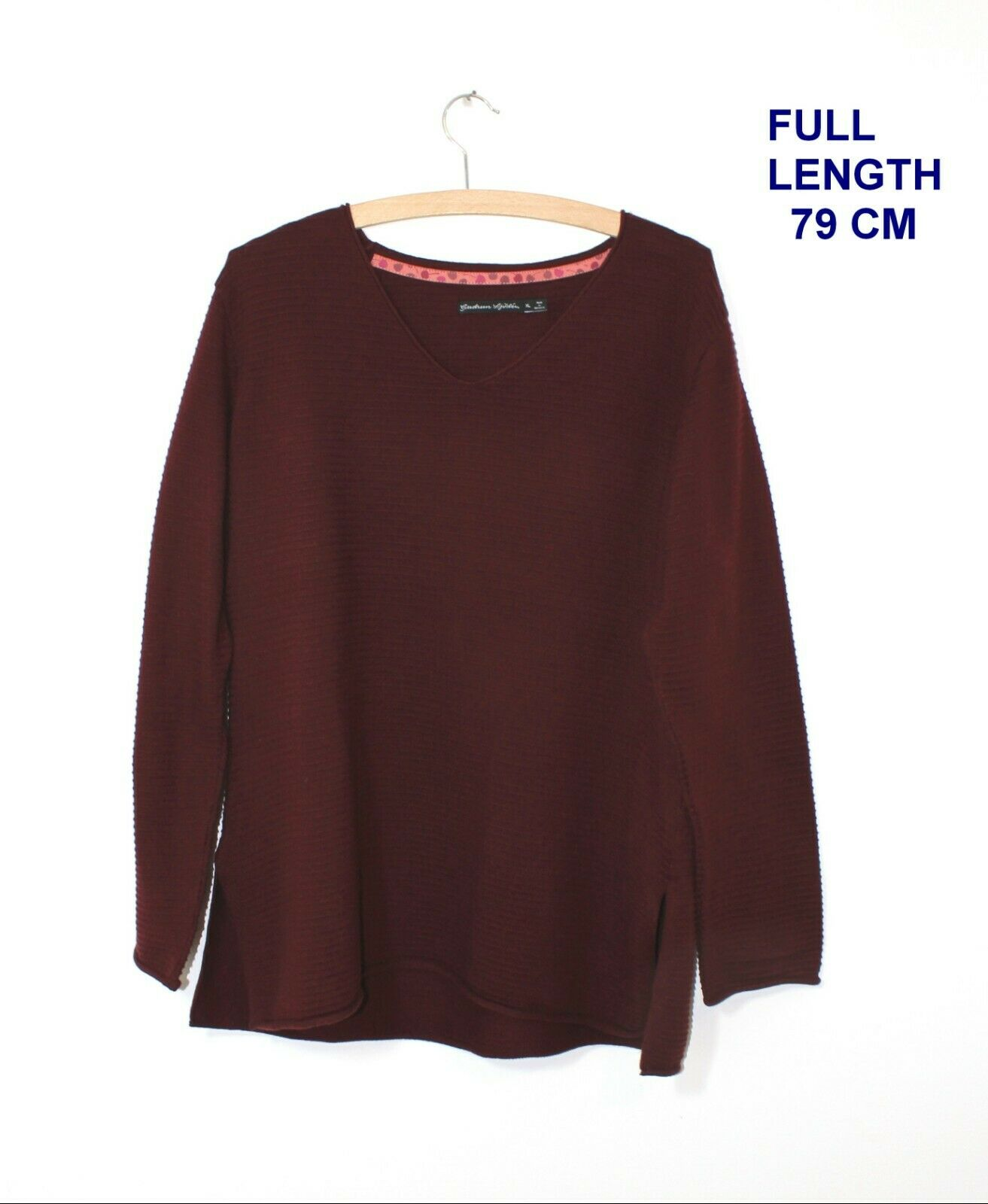 GUDRUN SJODEN SJÖDÉN  LADIES WOMAN BLOUSE SHIRT MARKED Größe XL BURGUNDY Farbe