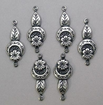 #1426 ANTIQUED SS/P FLORAL 2 RING CONNECTOR - 6 Pc Lot