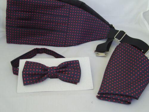 Cummerbund /& Hankie Set 004 Black with Burgundy Polka Dots-Silk Mens Bow Tie
