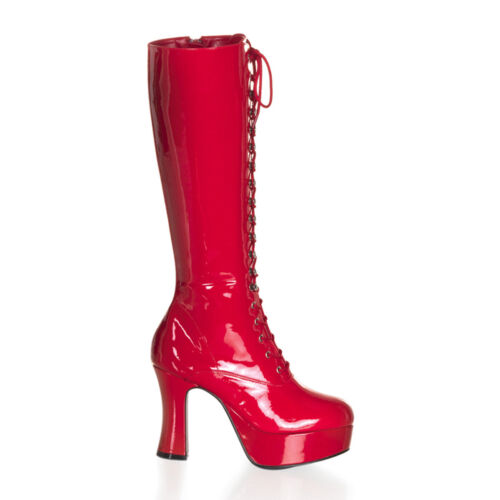 Funtasma EXOTICA-2020 Women/'s Platforms Red Patent Chunky Lace Up Knee High Boot