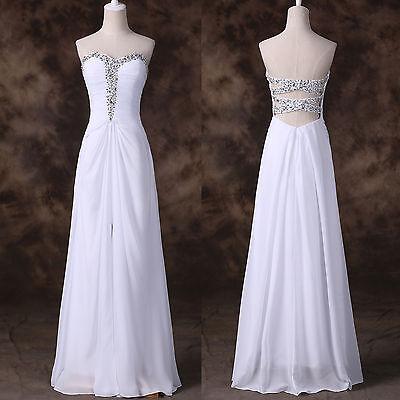 XMAS CHEAP LONG Chiffon Split  Evening Prom Formal Party Ball Gown Wedding Dress
