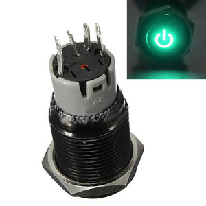 Black-16mm-12V-Car-Green-LED-Power-Push-Button-Metal-Switch-Latching-Sales
