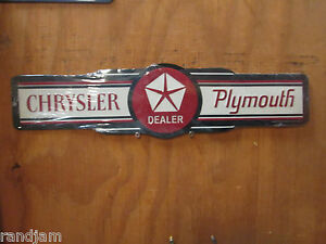 A Chrysler Plymouth Embossed Metal Display Cuda Challenger